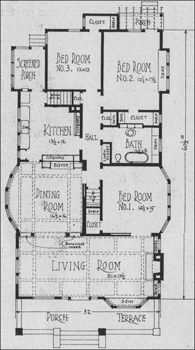 Bungalow Plan Reeves Bailey Sims House Plans Architectural Floor Plans Vintage House Plans