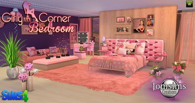 Girly Bedroom at Jomsims Creations via Sims 4 Updates | Pillow Set ...