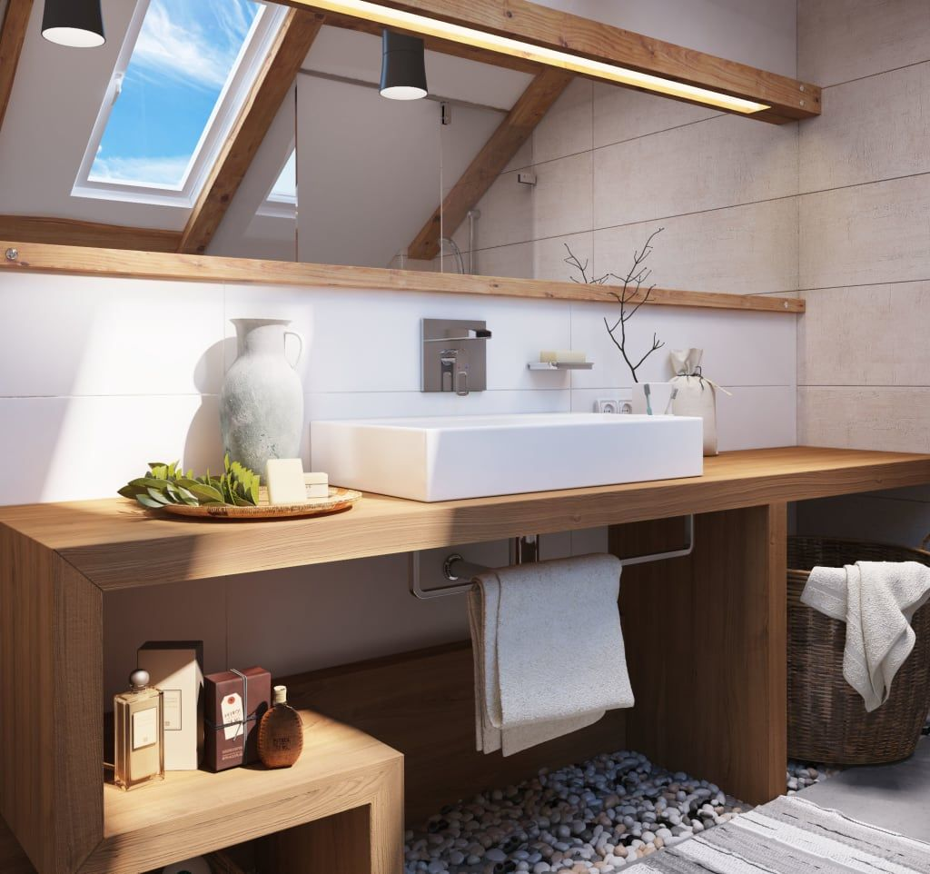 Skandinavische Badezimmer Von Polygon Arch Des Skandinavisch Skandinavisches Badezimmer Badezimmer Und Badezimmer Dachgeschoss
