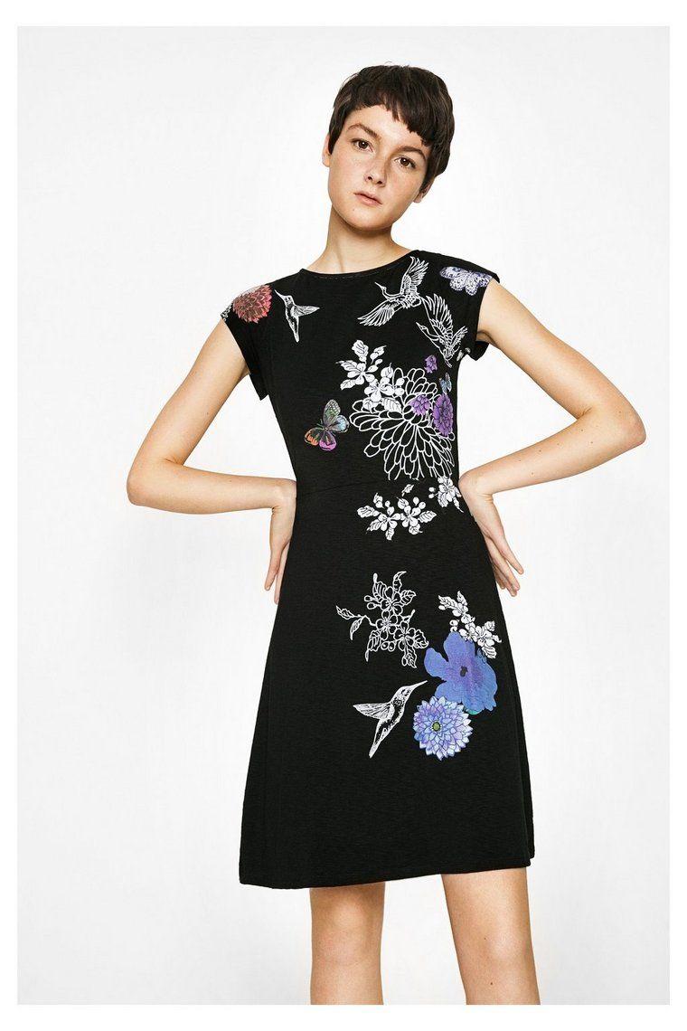 Schwarzes Kleid mit kurzen Ärmeln Encuer | Dress attire ...