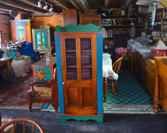 Blue and Green Painted Cabinet with Antique Walnut Door