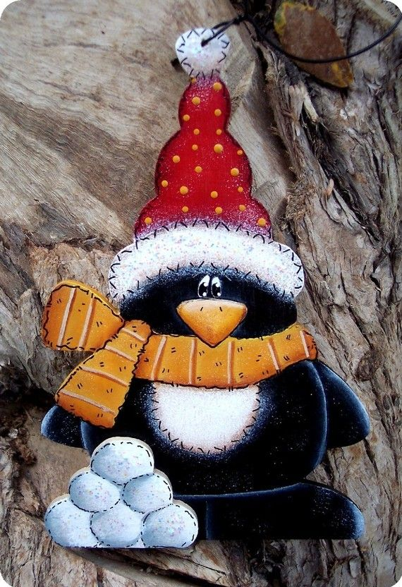 Penguin with Snowballs Ornament by CountryCharmers on Etsy, $7.75