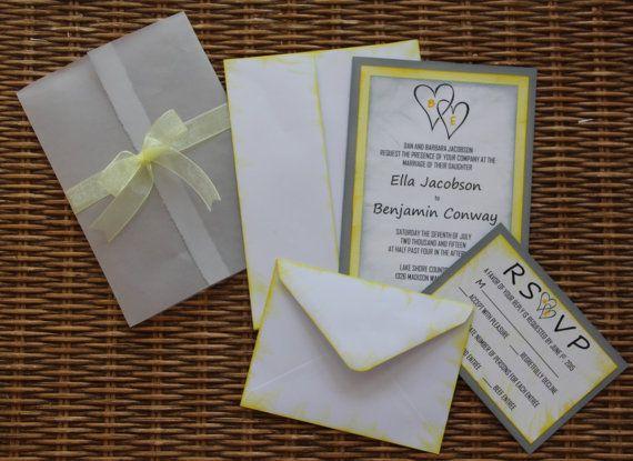 Handmade Wedding Invitation Yellow and Grey Invite RSVP