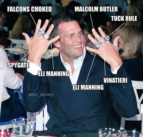 Five Count Em Five Super Bowl Rings For Tom Brady Forgot Deflate Gate Nfl Funny Nfl Memes Funny Nfl Memes