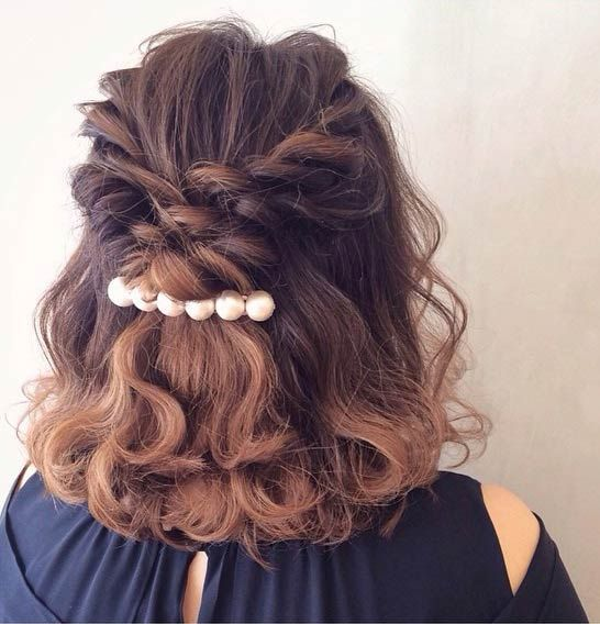 31 Half Up, Half Down Hairstyles for Bridesmaids | Bridesmaid hair medium length half up, Medium ...