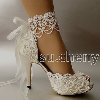 "su.cheny 3"" 4"" heel white ivory satin lace ribbon peep toe wedding"