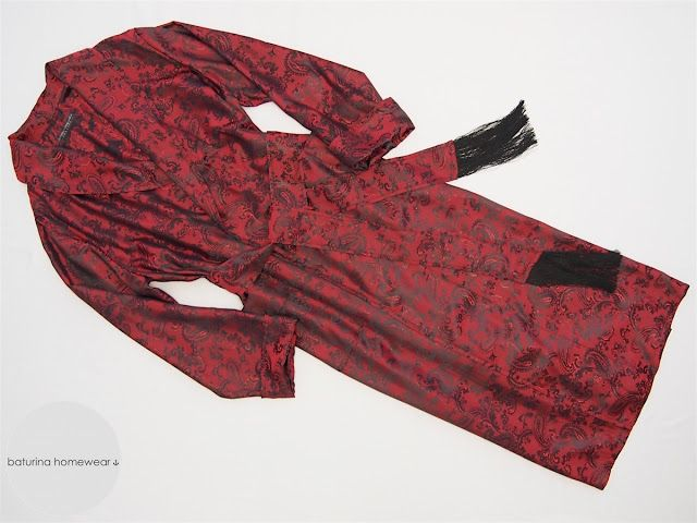 Men\'s Classic Full Length Red Paisley Silk Dressing Gown with ...