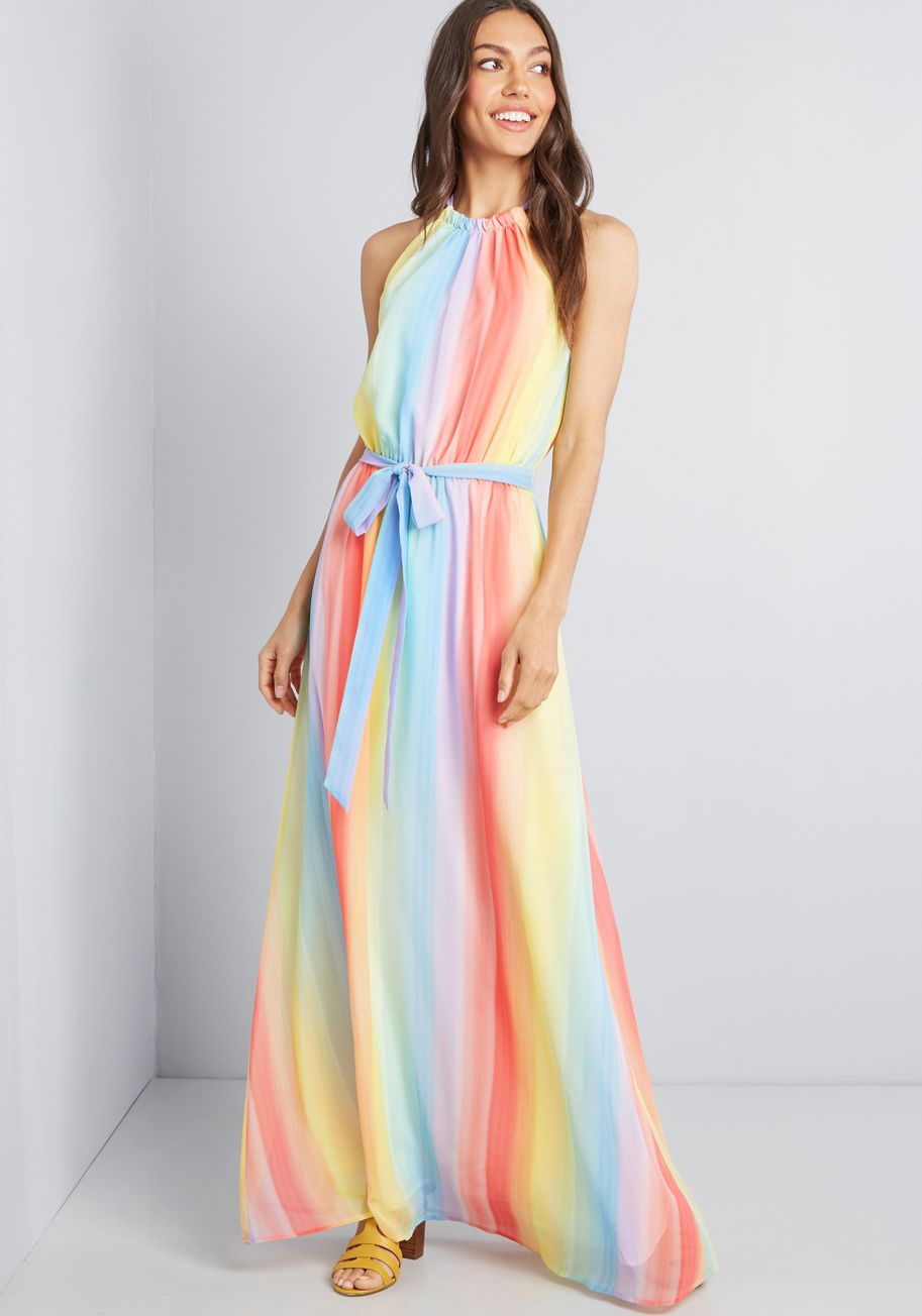 Illuminate Elegance Chiffon Maxi Dress In Rainbow Maxi Dress Dresses Chiffon Maxi Dress [ 1071 x 750 Pixel ]