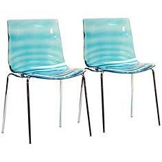 Set of 2 Marisse Blue Plastic Modern Dining Chairs