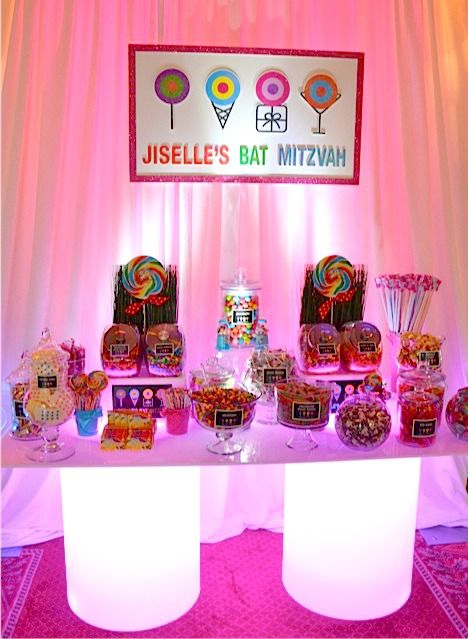 Dylan S Candy Bar Theme Bat Mitzvah Dessert Buffet Table Planner Party Perfect Photo A Magic Moment Mazelmoments