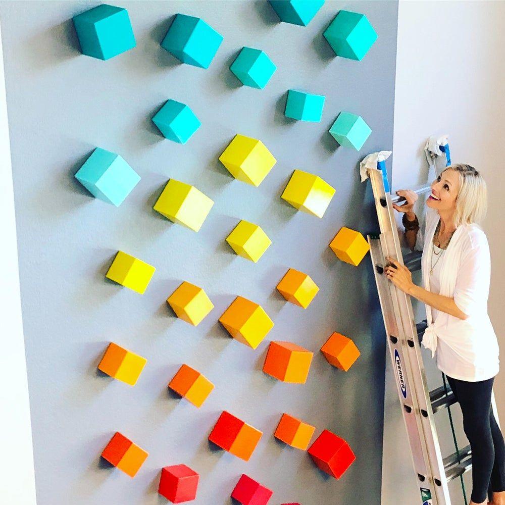 Mid Century Modern Art Cube Art Modern Wall Sculpture Large
