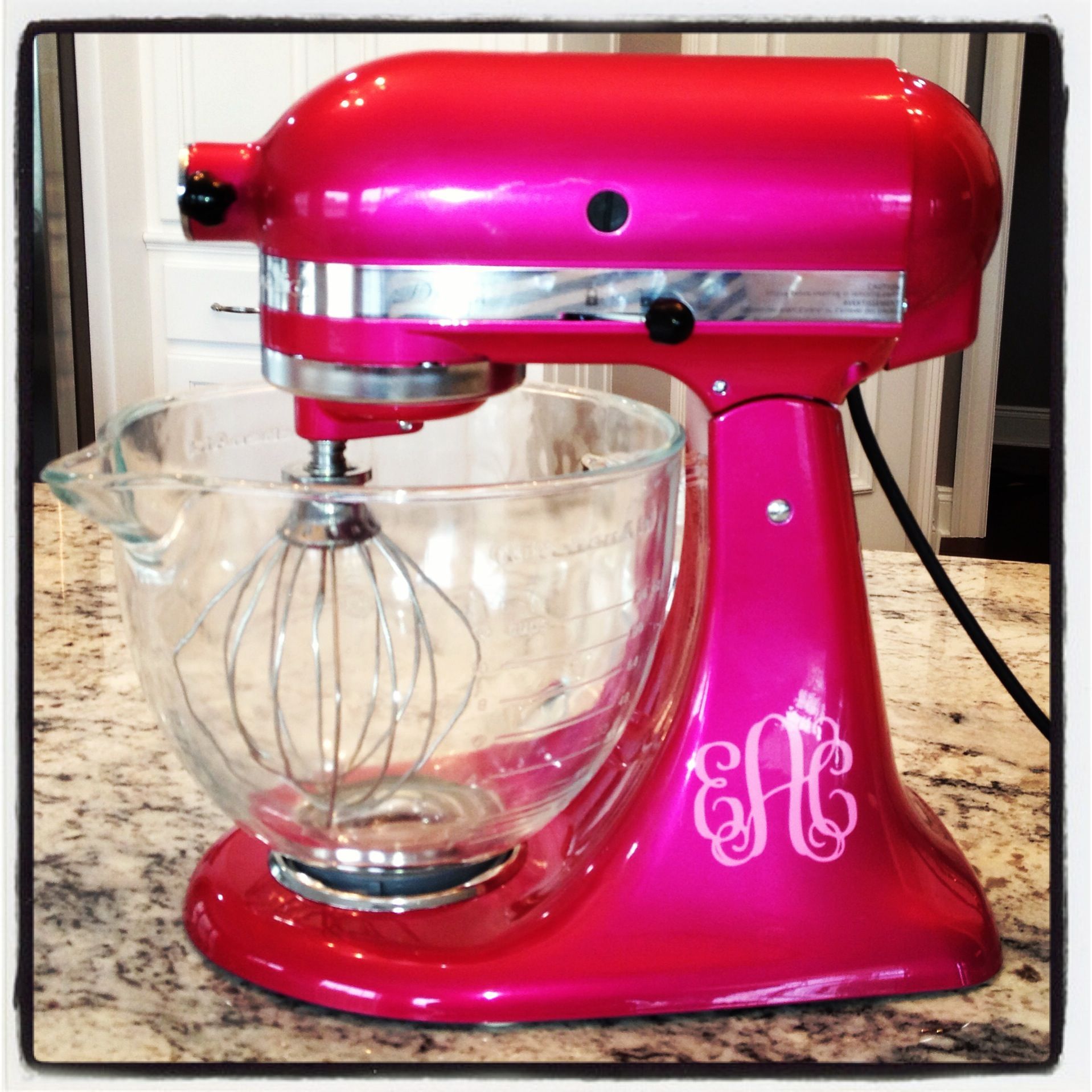 Pink Kitchen Aid Mixer Customized Kitchen Aid Mixer In Raspberry Ice With Monogram