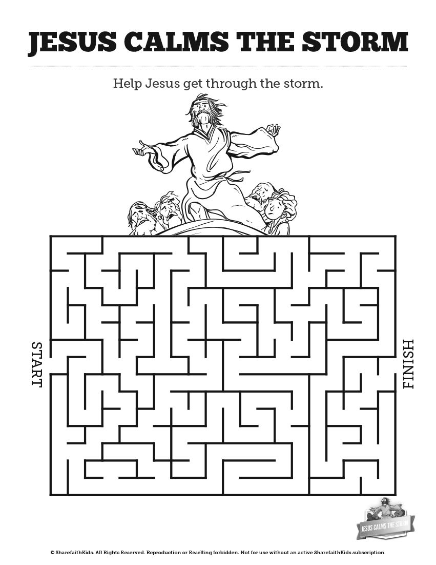 Jesus Calms The Storm Bible Mazes: With just enough