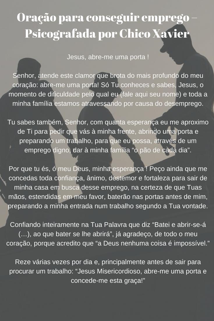 Muitas vezes Oração para conseguir emprego - Psicografada por Chico Xavier  ST46