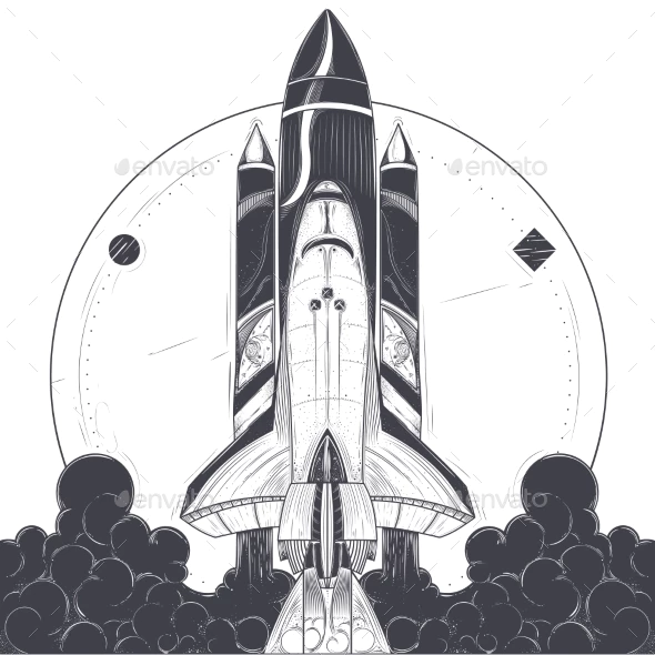 Space Shuttle With Carrier Rockets Launch Vector Rocket Drawing Space Drawings Rocket Art