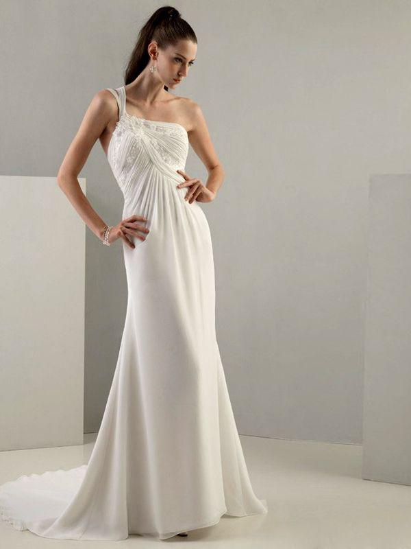 Untouchbale Chiffon Y Back One Two Pieces Shoulder Straps Sheath Wedding Dress
