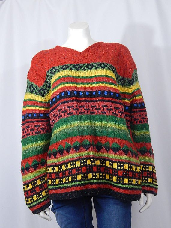d77db4ce2 Vintage Women s Sweater Knit XL Extra Large Red Heather Green Black ...