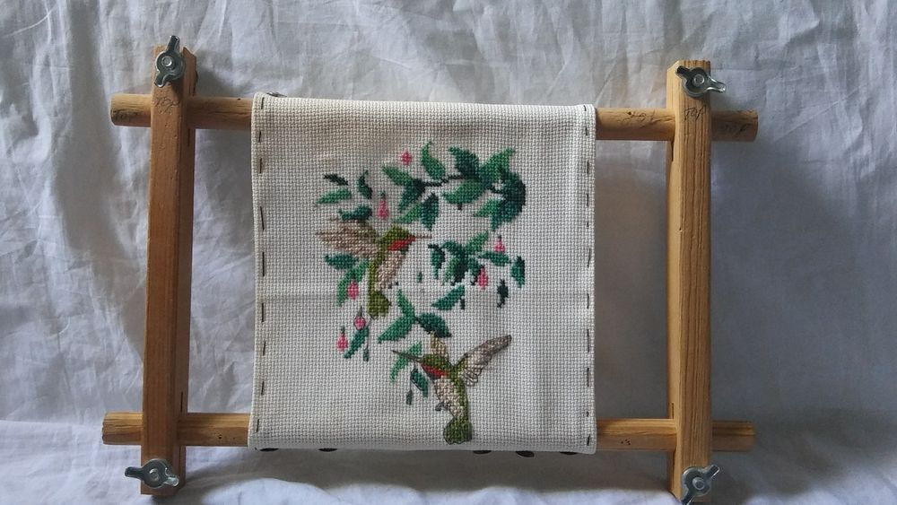 Vintage Wooden Needlework Portable Lap Frame Embroidery Crewel