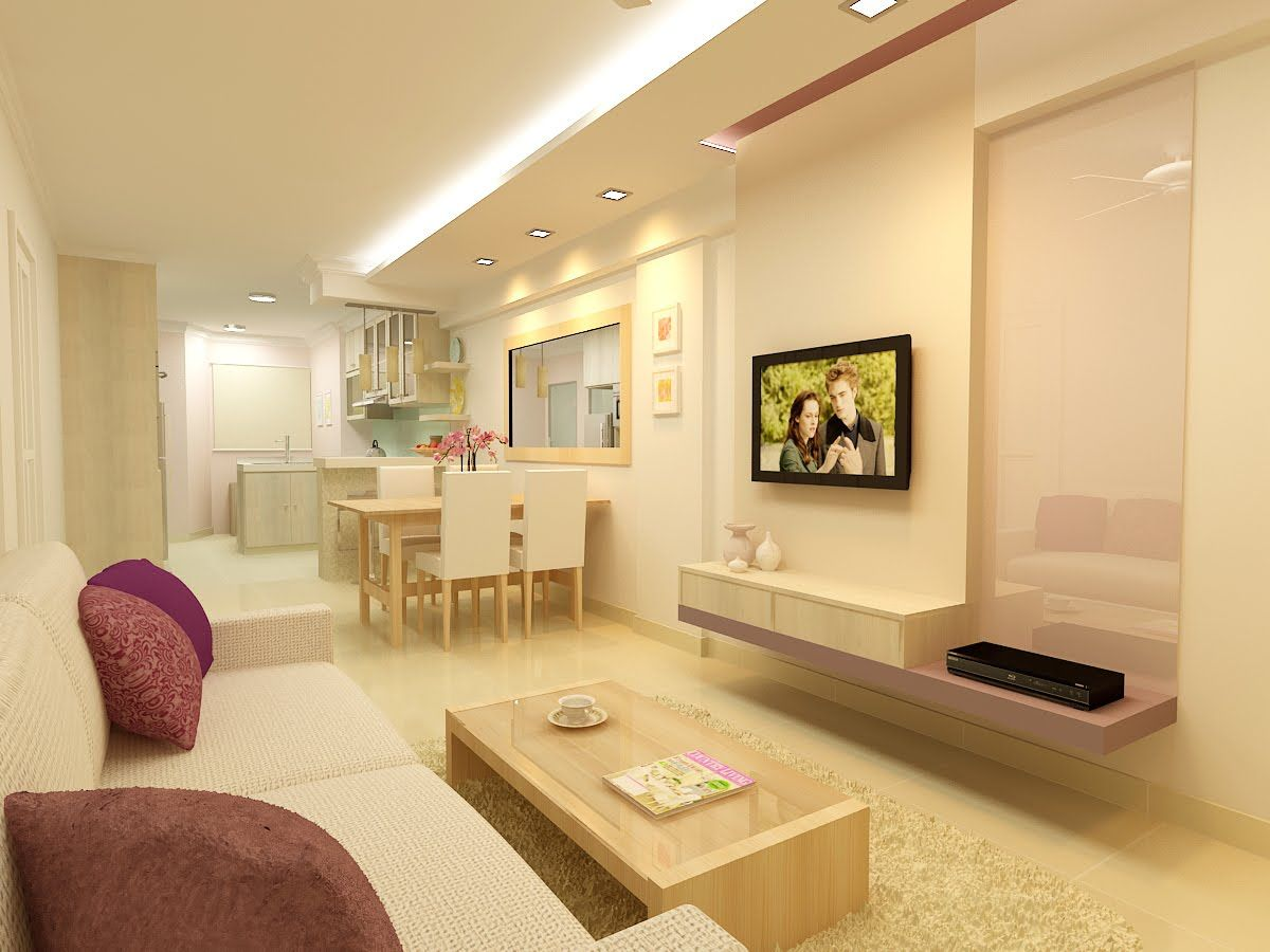 I love how clean and sweet this hdb living room is 2 for Flat interior design ideas