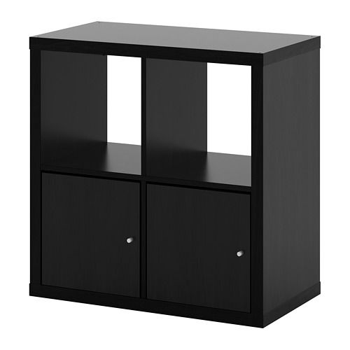 Ikea Kallax Shelf Unit With Doors Black Brown Kallax