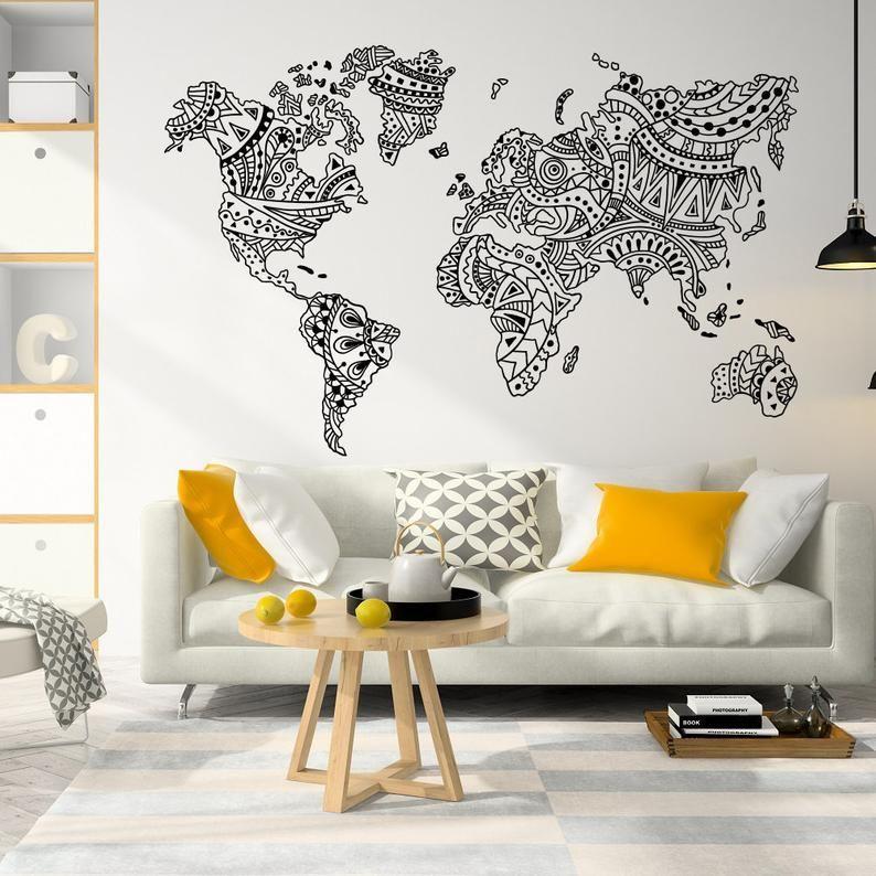 New World Map Mandala Wall Decal Boho Decor Ideas Mandala Etsy Bohemian Wall Decor World Map Wall Art Map Wall Art