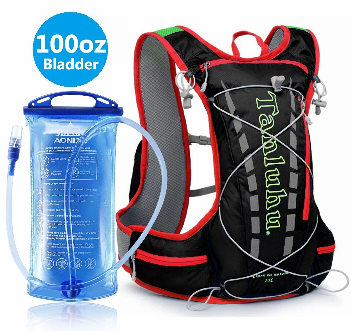 308a06b9ae5 Hydration Pack Running Backpack With 3 Liter 100 OZ Water Bladder BPA Free  Waterproof for Hiking