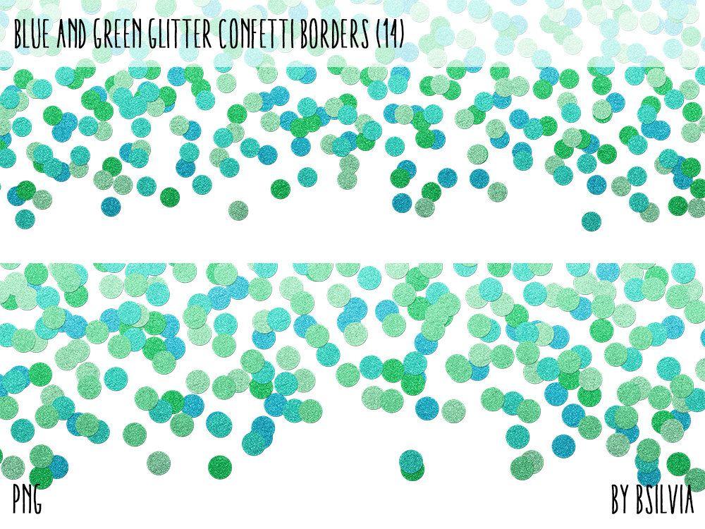 Blue and Green Glitter Confetti Borders Pack, Digital
