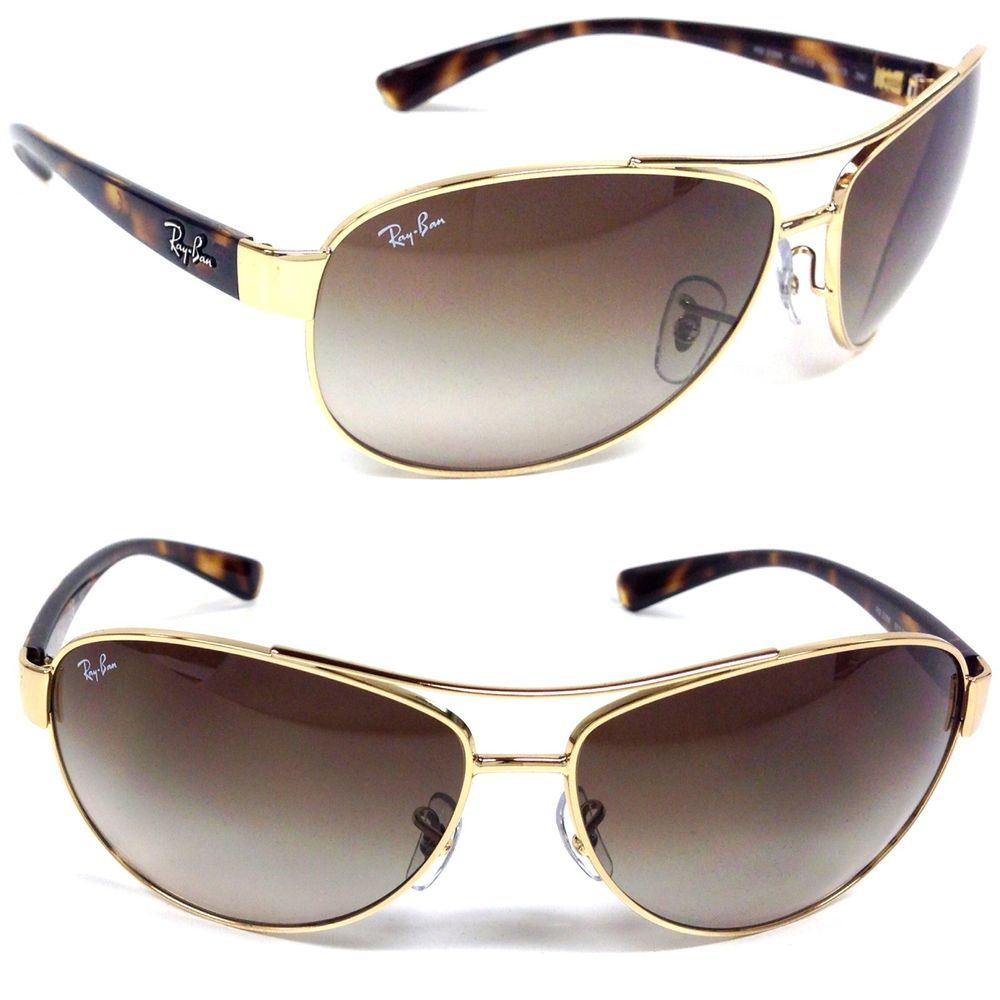 ce1a9bbdc3 NEW Ray Ban RB 3386 001 13 Gold Aviator Sunglasses Brown Gradient Lens   Aviator