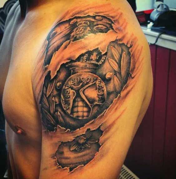 Tattoo Ideas On Upper Arm: Mens Upper Arm Ripped Skin Tattoo