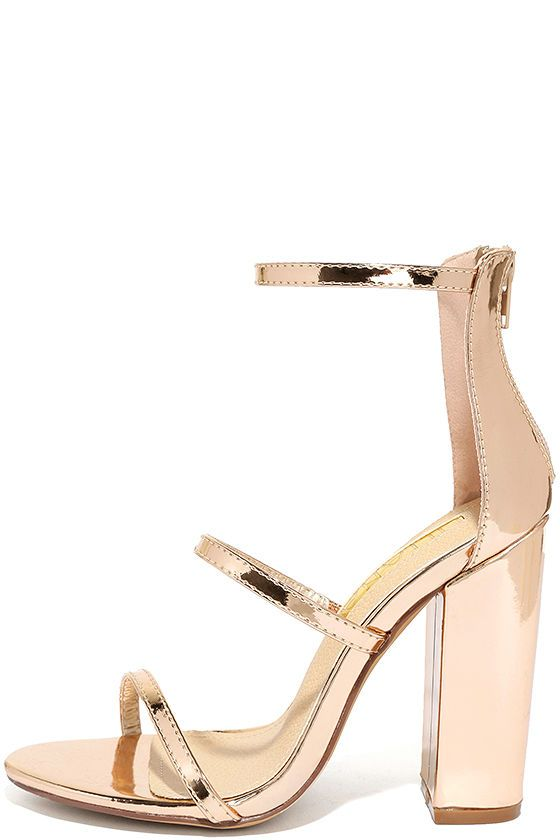 ed1470de0823 The Fifi Mirror Rose Gold Ankle Strap Heels will always RSVP to the hottest  parties of the season! Shiny