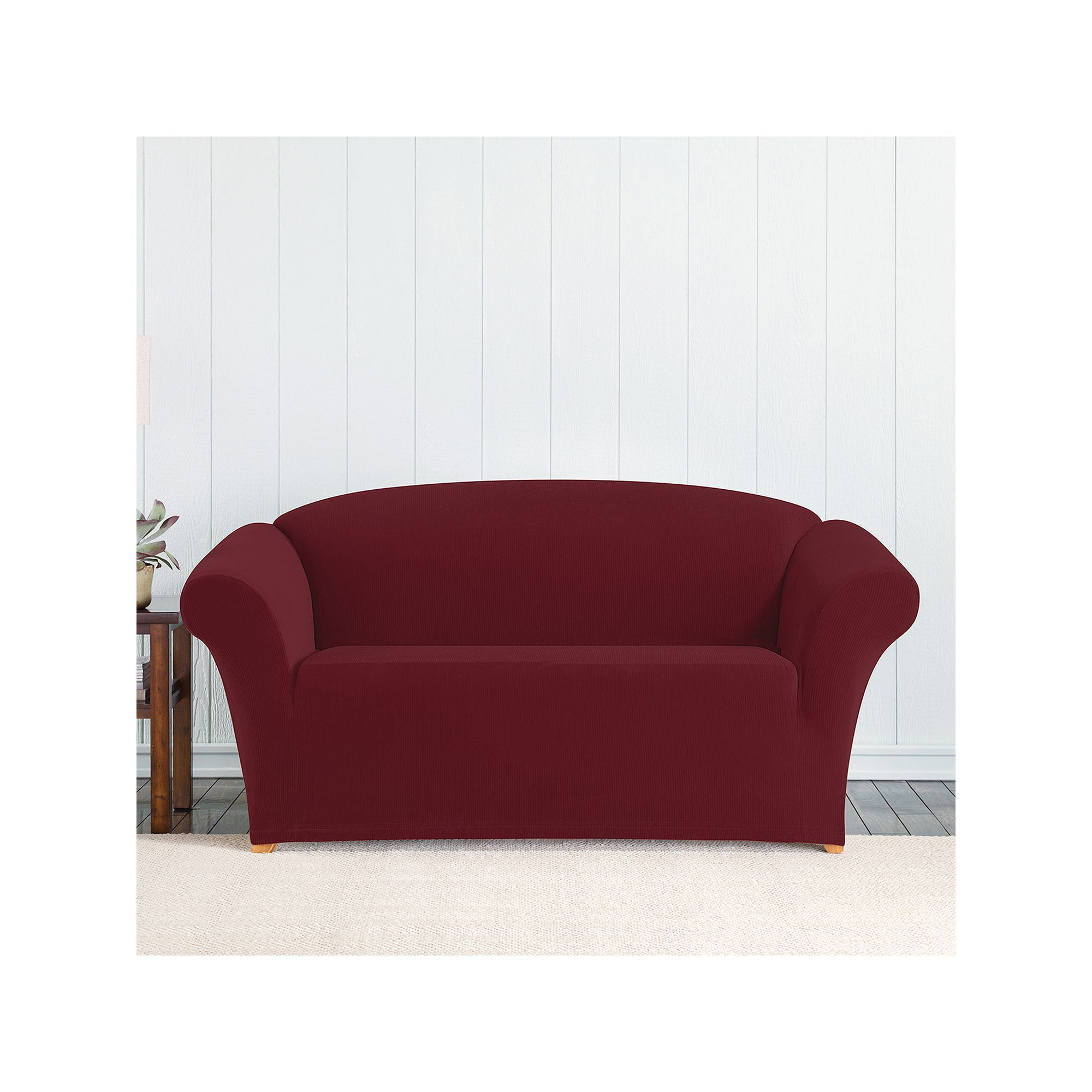 sure fit stretch pixel corduroy loveseat slipcover red