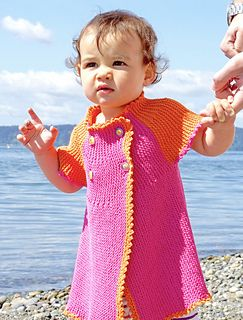 This sideways knit garment will go from dress to top as your child grows!