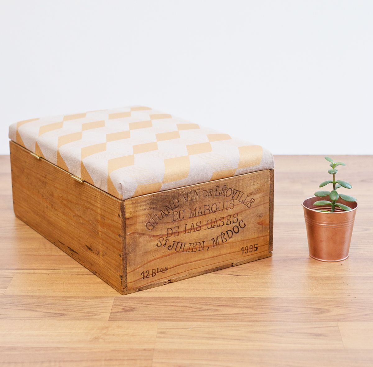 The Classic 12 Bottle Size Wine Box Ottoman With Sand And Gold Geometric Fabric Wine Crate Ottoman Wine Crate Wooden Wine Boxes