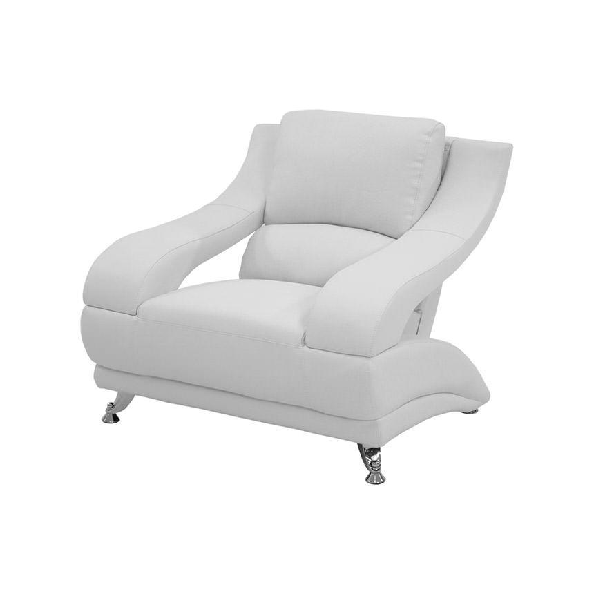 "Jedda White 39"" Leather Chair"