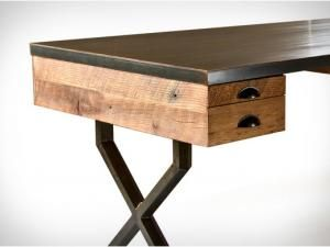Bureau en chêne et acier walter desk de richard velloso idée