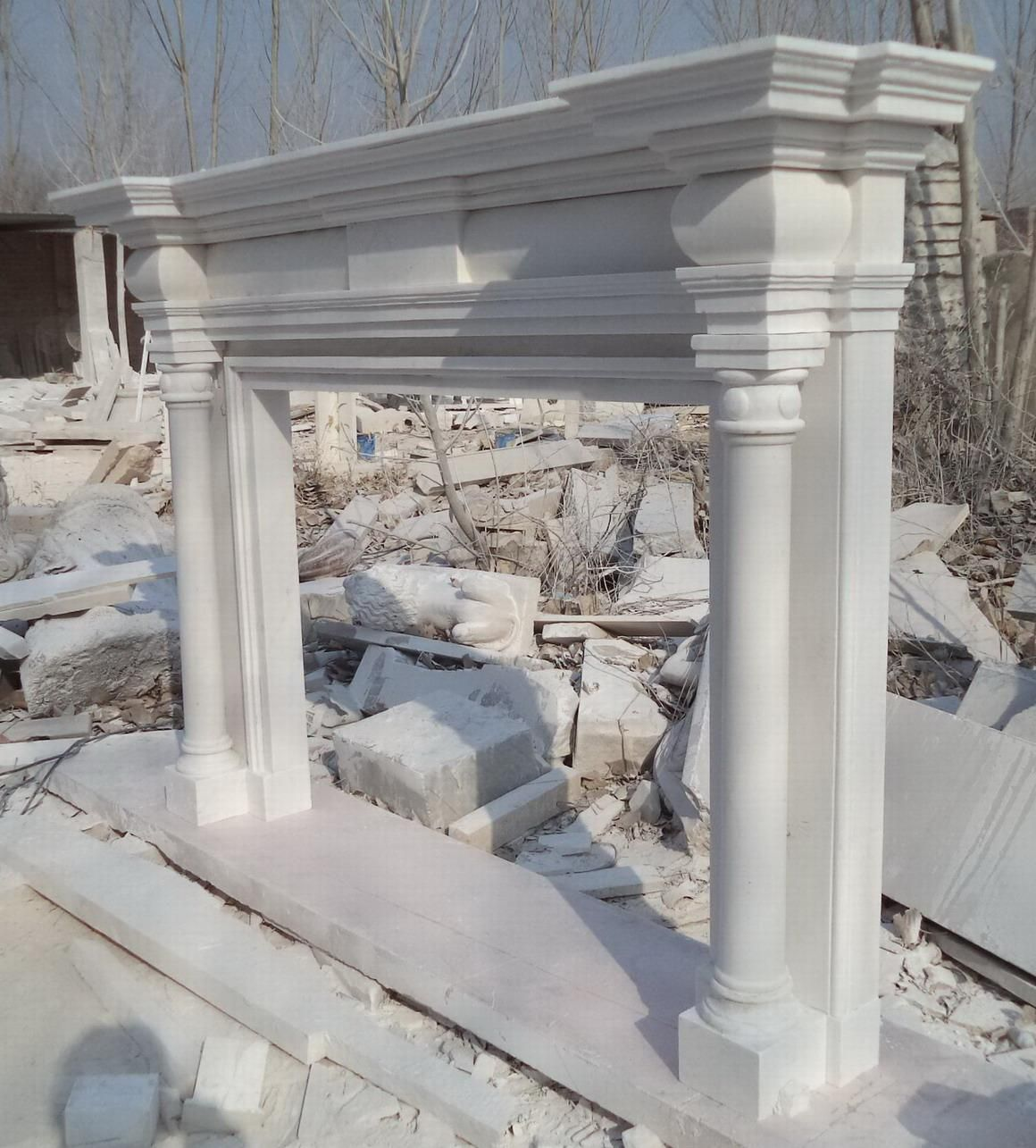 hand carved white marble greco roman fireplace mantel estate