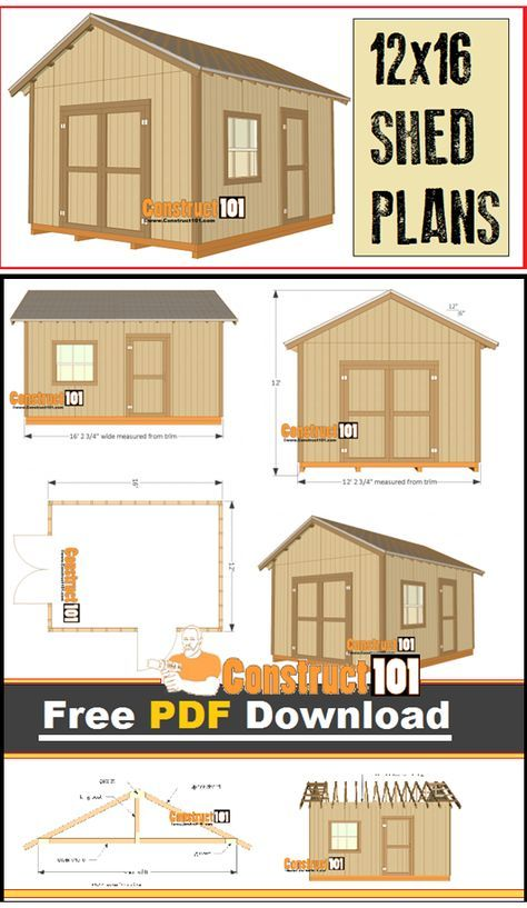 12x16 Shed Plans Gable Design Pdf Download Construct101 Shed Plans 12x16 Building A Storage Shed Shed Design