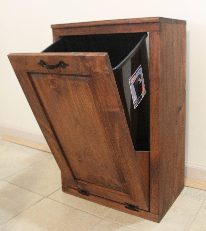 Wooden tilt out trash can trash bin wood trash box canet to
