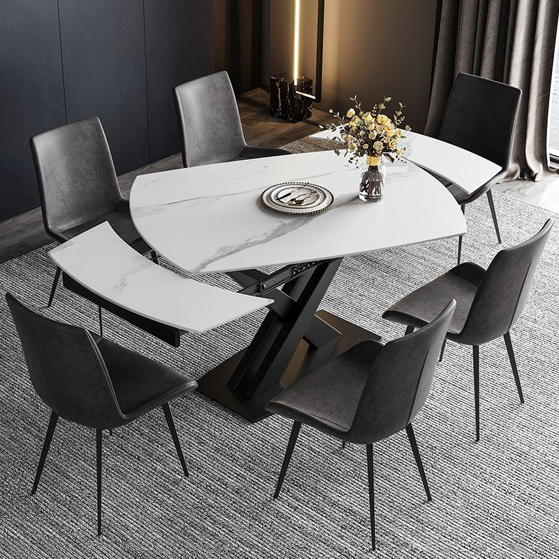 Functional Extendable White Stone Dining Table Rotatable X Base 47 To 71 In 2021 Stone Dining Table Dining Table Marble Grey Dining Tables