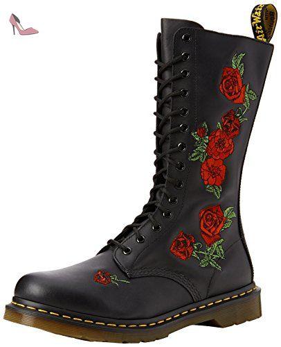 Dr Martens BOOTS VONDA NOIR/ROUGE - Chaussures Boot Femme