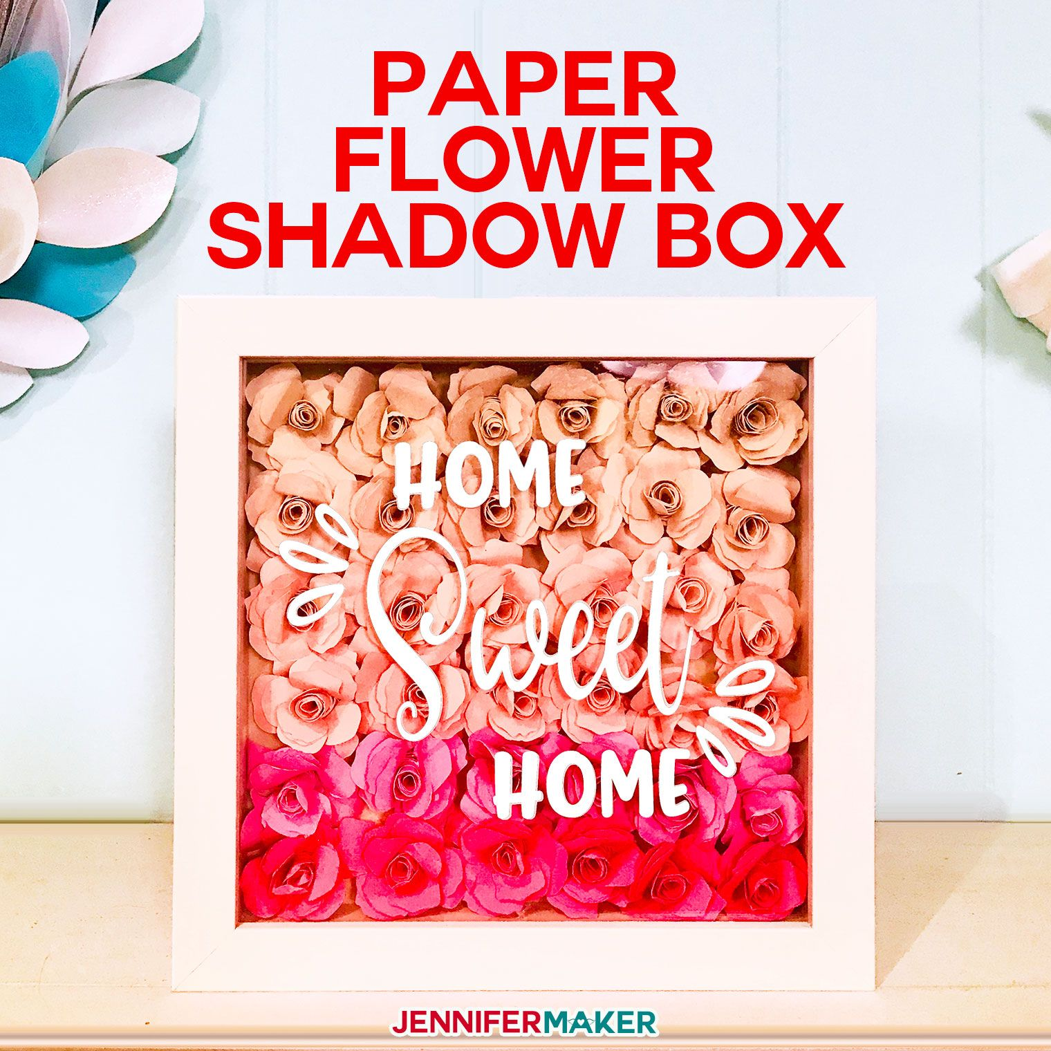Paper Flower Shadow Box with Sizing & Quantity Charts in
