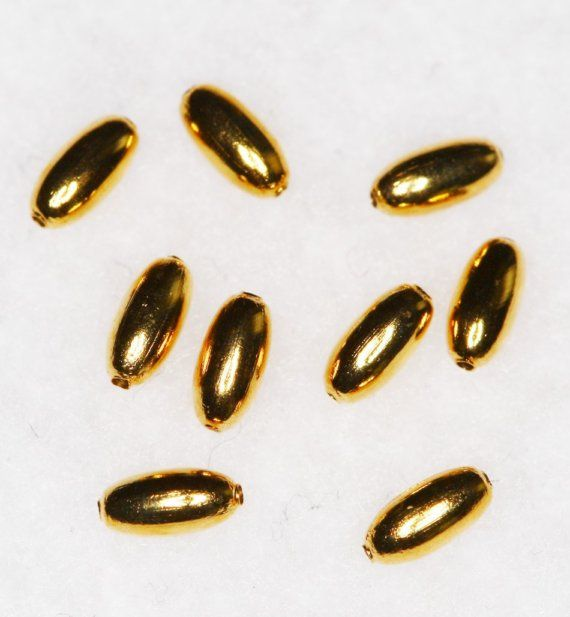 Gold Finished Narrow Oval Metal Beads Findings 100 by NevadaLadyJ, $4.00