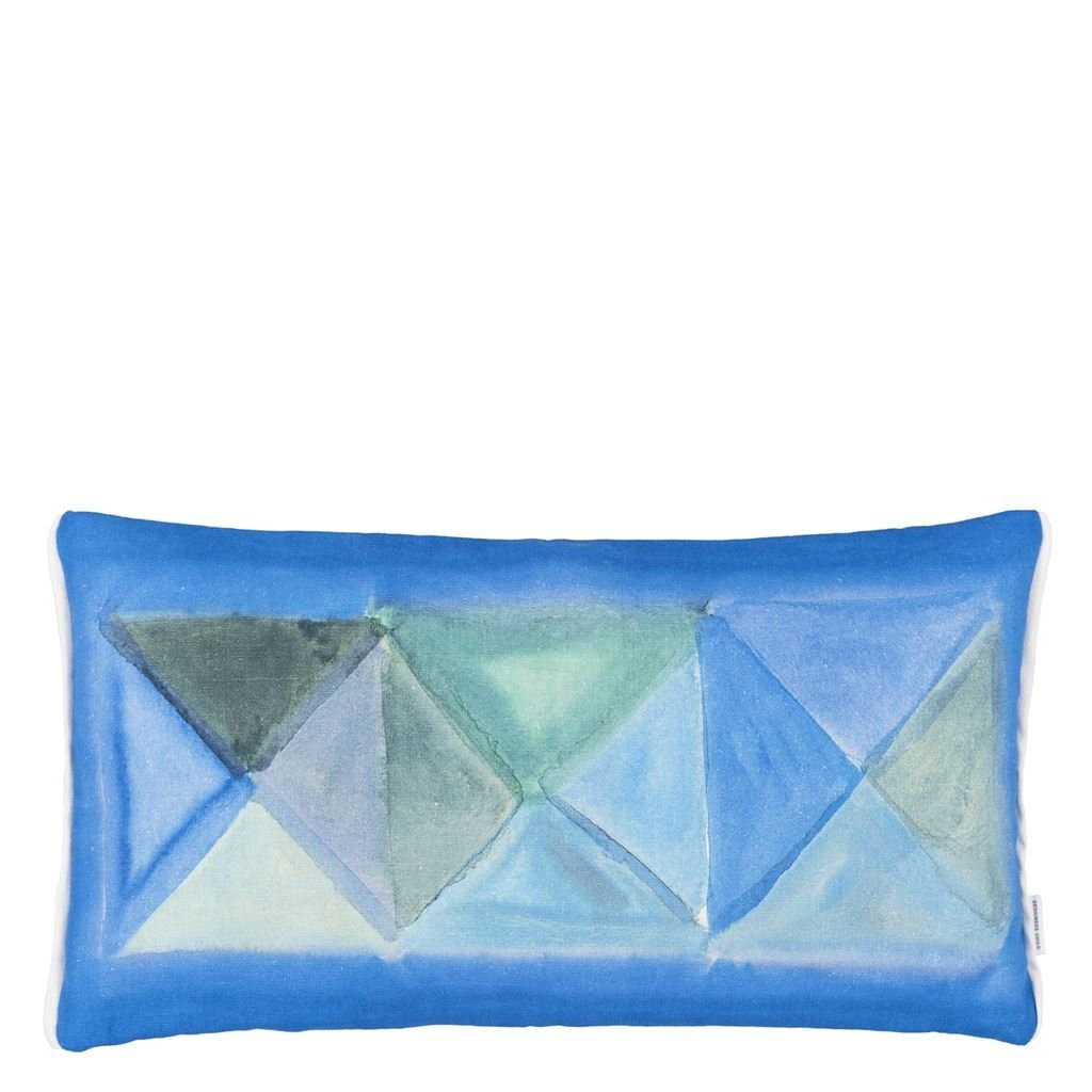 Bougival Cobalt Cushion - A wonderful geometric tiled pattern in soft washed watercolour in cobalts and azure shades, creates this stylish rectangular cushion