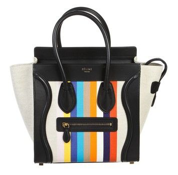 Celine Navy And Canvas Striped Micro Luggage Handbag Blue Tote Bag. Get one of the hottest styles of the season! The Celine Navy And Canvas Striped Micro Luggage Handbag Blue Tote Bag is a top 10 member favorite on Tradesy. Save on yours before they're sold out!