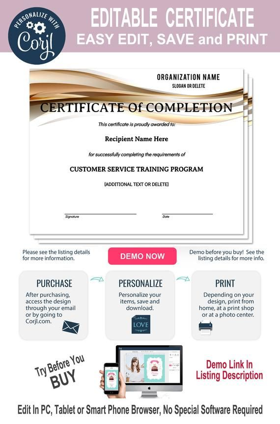 Certificate of Completion, Editable Template, Printable, Instant