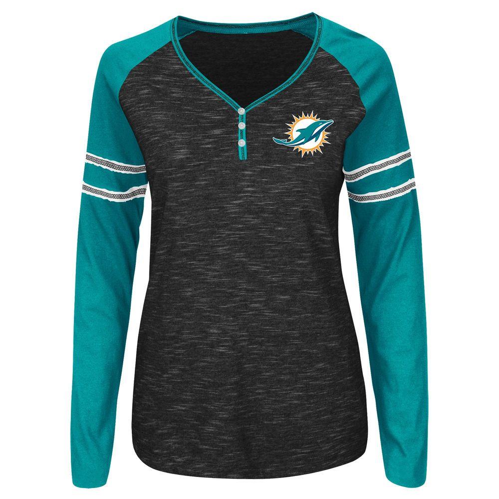 Women s Majestic Black Miami Dolphins Lead Play Raglan Long Sleeve T-Shirt c484d3bf5