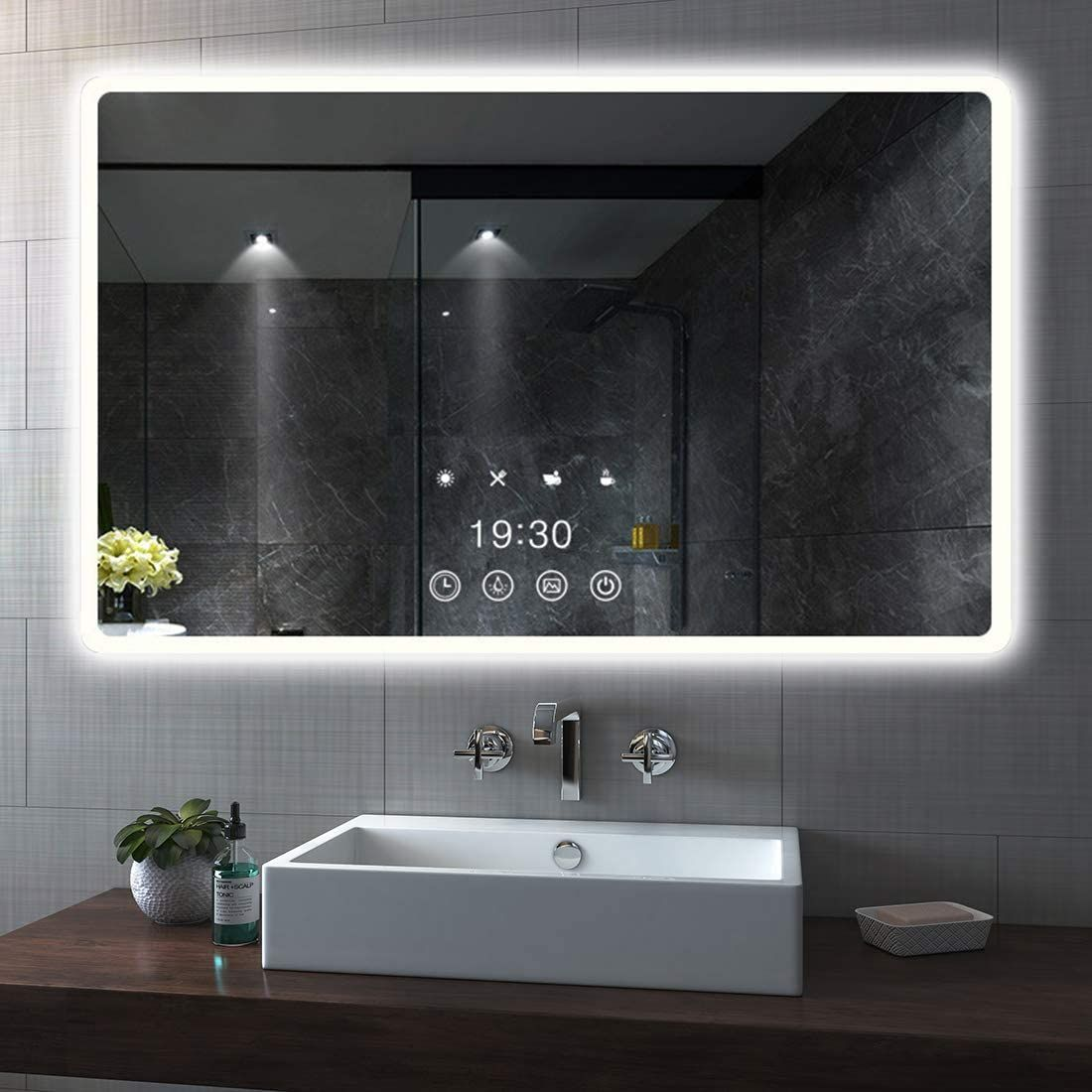 Gliving Led Bathroom Mirrors Wall Mounted Smart Makeup Mirror With Anti Fog Dimmable Memory Touch Bu In 2020 Bathroom Mirror Mirror Wall Bathroom Led Mirror Bathroom