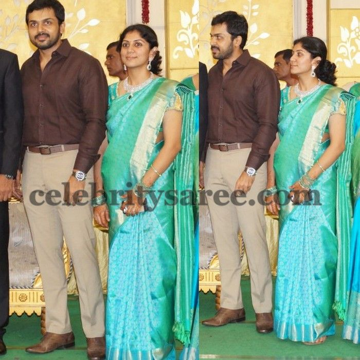 Karthi Wife Sea Blue Silk Saree | celebrity's dress | Blue