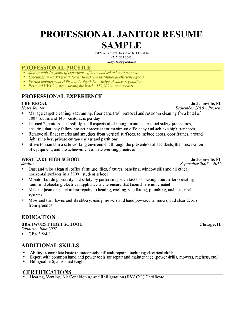 Janitor Professional Profile  Resume Writing