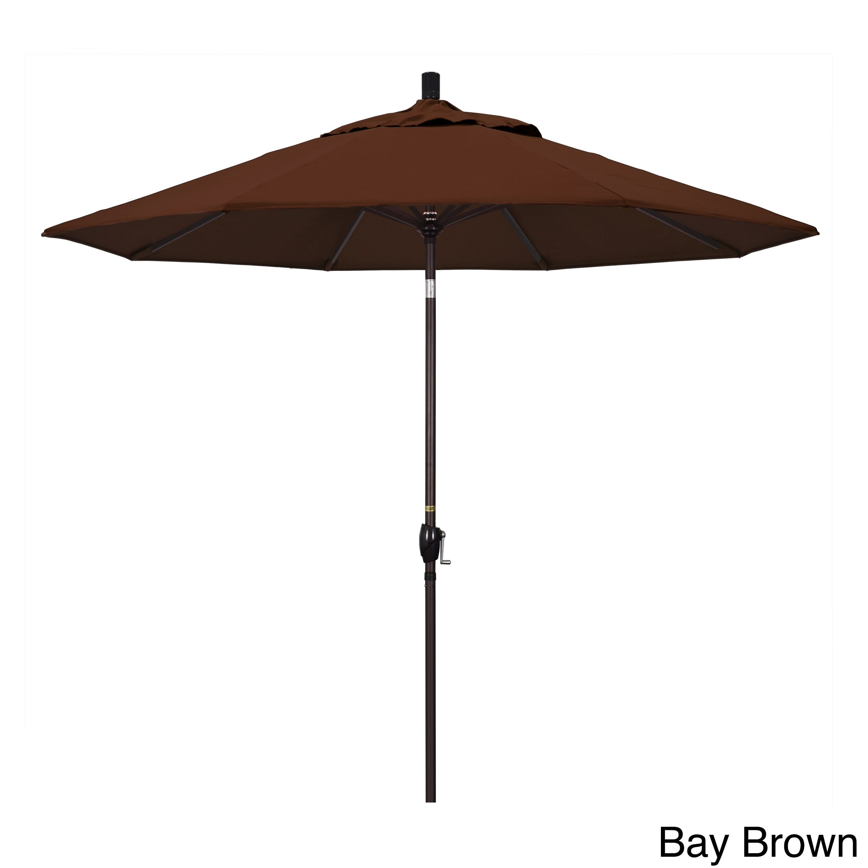 California Umbrella 9' Rd. Market Umbrella, Crank Lift with Push Button Tilt, Bronze Finish, Sunbrella Fabric